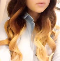 ombré curls done with wand curler