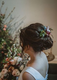 Floral hair comb with butterfly ranunculus, muscari, and fritillaria Corsage, Ranunculus, Hair Comb, Flourish, Spring Flowers, Butterfly, Floral Hair, Knot, Wedding