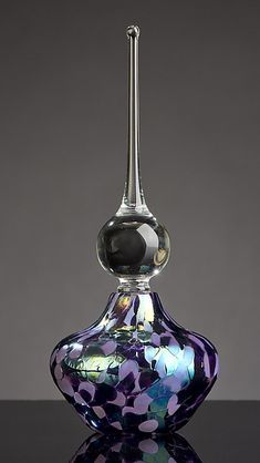 Elegant Violet Lavender Perfume Bottle: Bryce Dimitruk: Art Glass Perfume Bottle - Artful Home
