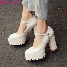 QUTAA Ankle Strap PU leather Ladies Shoes Woman Shoes Platform Classic Woman Pumps Square High Heel Women Shoes Size 34-42