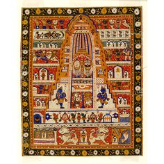 Painting | V&A Search the Collections Diagrammatic painting, in opaque watercolour on cloth, a schematic view of the Jagannath temple at Puri, Orissa, showing the main images within the tower (shikara) of the temple in the centre. The gods Brahma (with many heads) and Shiva are shown beneath the trio. Devotees and subsidiary shrines are shown around the sides of the main temple.