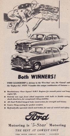 1952 Ford Consul & Zephyr Mk1 Ad - England | Covers the 1952… | Flickr