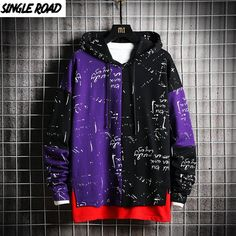 SingleRoad Men's Hoodies Men Patchwork Sweatshirt Male Harajuku Japanese Streetwear Hip Hop Oversized Black Purple Hoodie Men Japanese Streetwear, Cool Outfits, Fashion Outfits, Mens Sweatshirts, Men's Hoodies, Fashion Sweatshirts, Streetwear Fashion, Aesthetic Clothes, Street Wear