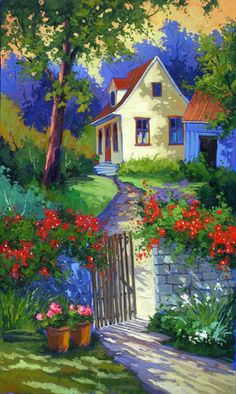 """robert savignac """" Such a pretty place """" I would love to walk through that gate and into the house...."""