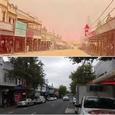 Burwood, looking northwest towards Concord. One block back from the rail station, 1910 & 2017 #sydney #history http://fat.ly/gd1h (Instagram Image from @beliefmedia, 1st February 2017 8:09am).