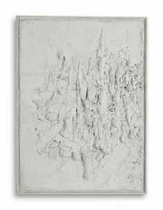 Bram Bogart: Les Plats, 1958. Mixed media relief on plywood in artist's frame. Overall: 120 x 88 cm. Signed.