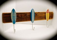 "Surfboard Hat Rack-Surfboard Coat Rack-Three Vintage Surfboard and Reclaimed Wood Hat Rack- 2 foot long & 8"" from top to bottom-Very Unique! by BeachDazzled on Etsy"