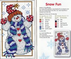 Snowman cross stitch.