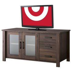 Asymmetrical Media Stand, target. I think this matches the dining set