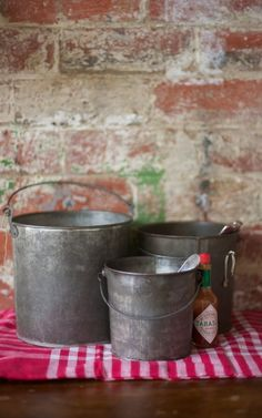 vintage buckets, display, collection, garden, photo by Liam Cullinane