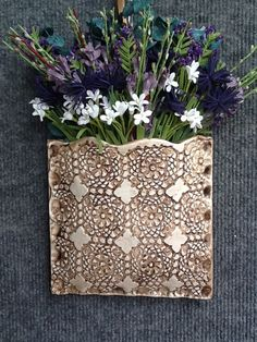 """Clay wall pocket by """"Pretty Pottery"""". Order on Etsy at PrettyPotterybyTC"""