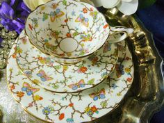 ROYAL STAFFORD TEA CUP AND SAUCER TRIO STUNNING HP FLORAL CHINTZ & BUTTERFLY #GILDED #ROYALSTAFFORD