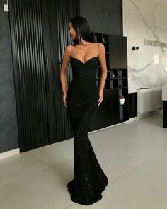 Sheath Spaghetti Straps Open Back Sequins Black Long Prom Dress - 2020 New Prom Dresses Fashion - Fashion Of The Year Mermaid Prom Dresses, Prom Party Dresses, Dress Party, Occasion Dresses, Wedding Dresses, Strapless Dress Formal, Formal Dresses, Dress Long, Long Dresses