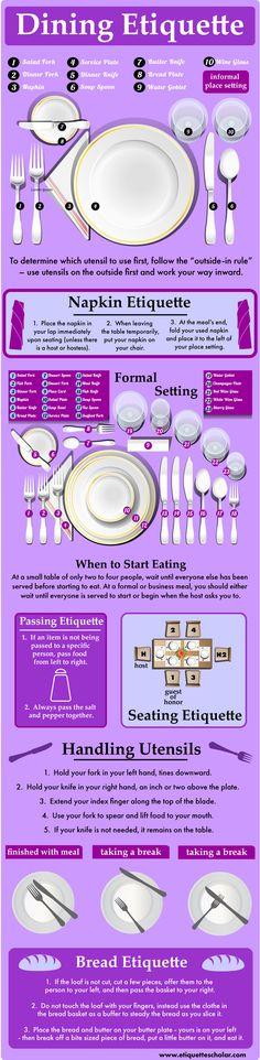 The Complete Dining Etiquette Guide! - Check out of dining etiquette how-to. - The Complete Dining Etiquette Guide! - Check out of dining etiquette how-to lists! Dinning Etiquette, Etiquette And Manners, Tea Etiquette, Table Manners, Home Economics, Tips & Tricks, Kitchen Hacks, Things To Know, Fine Dining