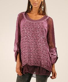 Love this Prune Sequin Roll-Tab Tunic by Maille Girl on #zulily! #zulilyfinds