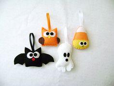 Felt Halloween Ornaments  Spooky Set  Candy Corn by RedMarionette