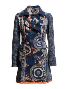ABRIG_BLUE ELEKTRA - A signature Desigual trenchcoat is awashed with mismatched print for stand-out style.   *Double-breasted button front  *Fully lined  *Side flap pockets  *Strap at the back waist