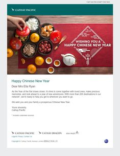 Happy Chinese New Year email from Cathay Pacific Online Flight Booking, Cathay Pacific, Year Of The Rat, Happy Chinese New Year, Cebu, Email Marketing, Travel, Viajes, Trips