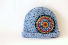 Light Blue Mandala Baby Beanie Boho Hipster by MaineCoonCrafts, $30.00