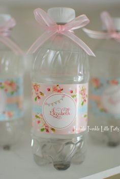 Shabby fiesta de cumpleaños elegante floral o bebé twinklelittleparty porción