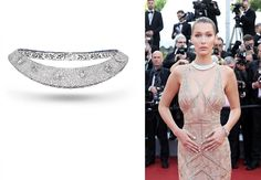 @BellaHadid looking ethereal and elegant in @RobertoCavalli gown and @DeGrisogono diamond choker at the Opening Gala Ceremony during The 69th Annual Cannes Film Festival. I love the way she has clubbed the choker with the dress not wearing anything in the ears to keep it simple and drawing all the attention to the necklace.. love everything about this look from hair makeup outfit and jewellery !! #purplebyanki #beautiful #redcarpet #highjewellery #blingbling #love#mydubai #dubailife… Bella Hadid, Diamond Choker, Festival Makeup, Dubai Fashion, Elle Fanning, Cannes Film Festival, Opening Ceremony, Glamour, Fashion Art