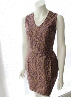 V neck Mauve and Gold Patterned Dress 2014 by KooCooCarrillo, $135.00