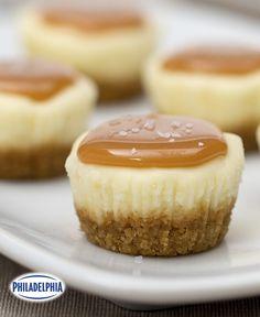 Salted Caramel Cheesecake Minis #recipe