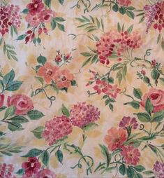 "Collier Campbell Decorator Fabric 56"" Yellow Floral Wisteria Hydrangea Rose BTY"