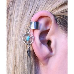 Navajo Dream Catcher Feather Genuine Sterling Silver Turquoise Ear... ($25) ❤ liked on Polyvore featuring jewelry, navajo sterling silver jewelry, navajo jewelry, sterling silver jewellery, sterling silver ear cuff and turquoise ear cuff