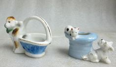 OCCUPIED JAPAN PAIR OF DOLL HOUSE MINIATURE PLANTERS CAPUCHIN MONKEY & TERRIER! #OccupiedJapan