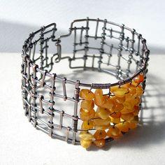 Kuta Bracelet: burnished copper and amber  |  Artist:  mragowska, Poland  |  ragowska.fotolog.pl
