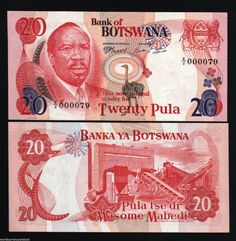 Get the Rare 1976-1977 Botswana 20 Pula with a low serial # Country: Botswana Denomination: 20 Pula Pick #: P5B Year: 1976 Grade: UNC Other Info: African Currency Coloration: Red Depictions: President