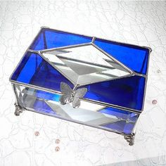 Beveled  Stained Glass Box Cobalt Blue Glass