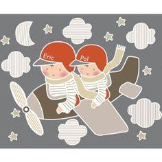 Vinilos infantiles: 2 niños avioneta - Vinilos infantiles 2 niños - Vinilos infantiles personalizados