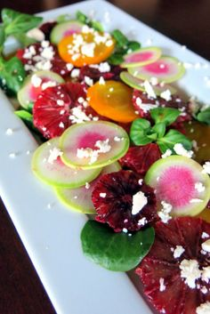 Roasted Beet & Blood Orange Salad. With watermelon radishes, mache, feta, and a simple blood orange vinaigrette.
