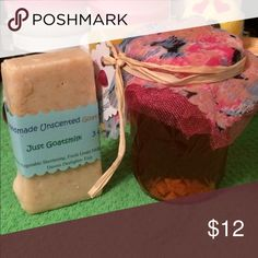 8oz raw natural honey + unscented Goats milk soap You get 8oz raw, unpasteurized honey from a local bee farm. Raw means it hasn't been heated, nothing added to this, just pure goodness. Raw honey is not recommended for kids under age 1. If you are allergic to bees, consult your doctor before consuming.  You also get a 3-4oz bar of unscented Goatsmilk soap. Made from vegetable shortening, sodium hydroxide and Goatsmilk. If you have problem skin try Goatsmilk soap! Store soap is loaded with…