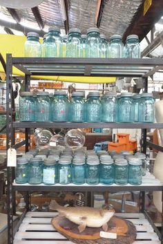 vintage shopping aqua mason jars