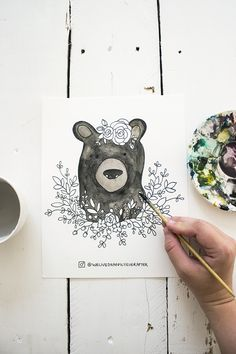 Free Watercolor Adult Coloring Book Printable Sheets - Woodland Forest Animals Part 1 (Fox, Bear, Squirrel, Badger) Printable Adult Coloring Pages, Coloring Book Pages, Coloring Sheets, Printable Art, Free Printables, Watercolor Animals, Watercolor Cards, Woodland Forest, Illustrations Posters