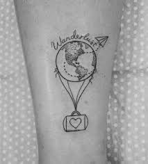 What does wanderlust tattoo mean? We have wanderlust tattoo ideas, designs, symbolism and we explain the meaning behind the tattoo. Tattoos For Women Small, Small Tattoos, Cool Tattoos, Tatoos, Little Tattoos, Mini Tattoos, Henne Tattoo, Balloon Tattoo, Inspiration Tattoos