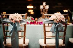 Stunning color palette of blush, fuschia and smokey blue-grey. Wedding by Merry Beth Turpin of Aisle of View.