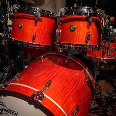 A burned orange over curly maple USA Custom! Drum Instrument, Music Instruments, Diy Drums, Gretsch Drums, Usa Customs, How To Play Drums, Old Music, Beautiful Guitars, Drum Kits
