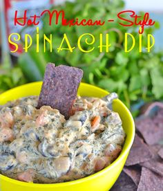 Hot Mexican Style Spinach Dip - jazz up spinach dip with Mexican flavors - it's a total crowd pleaser!  #recipe #appetizers #game night - find the recipe at www.kitchenmeetsgirl.com