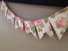 Vintage Pink Floral Banner by ThePaperFlag on Etsy