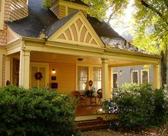 a Bungalow that just can't give up it's Victorian desires . via Fickr Cottage Living, Cottage Homes, Cottage Style, French Style Homes, Craftsman Style Homes, Yellow Cottage, Home Porch, Romantic Cottage, Romantic Homes