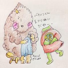 【Around midnight】まつり縫いがめんどくさいです。#bison #frog #animal #sewing #drawing #illustration #かえる #バイソン #動物 #おえかき #イラスト #祭 #まつり縫い