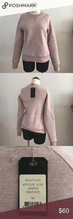 "Rag & Bone Langford Sweatshirt New with tags-  crew neck antique rose Rag & Bone Langford sweatshirt.  Fitted and 23"" long. rag & bone Tops Sweatshirts & Hoodies"