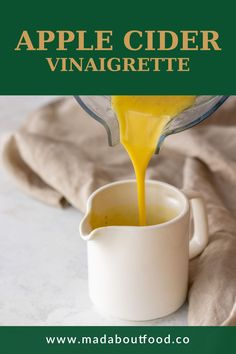 Ever wonder how to use that apple cider vinegar? Combine it with a few other ingredients to make this apple cider vinaigrette. Pour a steady stream of olive oil into a blender with the vinegar to make an emulsified and creamy vinaigrette. Then, pour the creamy apple cider vinegar dressing all over your salads. #healthyrecipesdressings #creamyvinaigrette #applecidervinegar Healthy Dip Recipes, Healthy Dips, Easy Summer Salads, Summer Salad Recipes, Vinegar Salad Dressing, Salad Dressing Recipes, Easy Low Carb Lunches, Whole 30 Lunch, Food For A Crowd