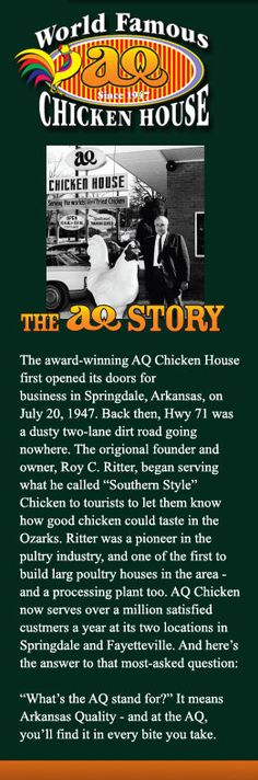 Best Chicken - Springdale, Arkansas...I remember eating there as a child and yes, it was the best chicken I had ever eaten....!!!
