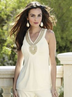 Thanks to @Kathleen S S O'Neal for pinning our Beaded Keyhole Top from Midnight Velvet®.