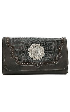 Blazin Roxx Ladies Brown & Grey Gator Print Crystal Concho Flap Wallet